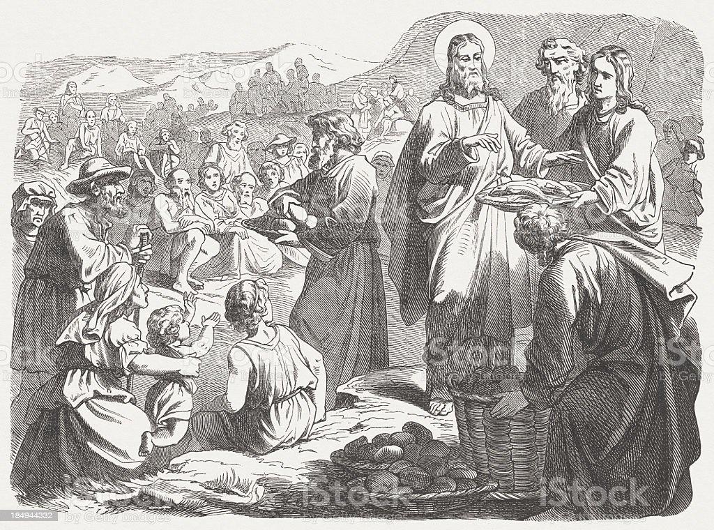 Feeding of the Five Thousand (Mark 6, 30-44) vector art illustration