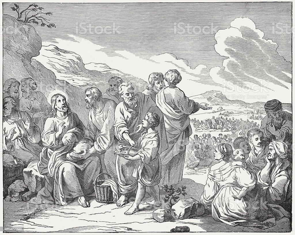 Feeding of the Five Thousand vector art illustration
