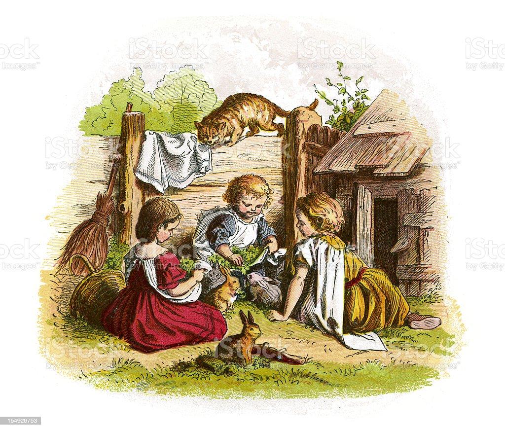 Feeding the Rabbits vector art illustration