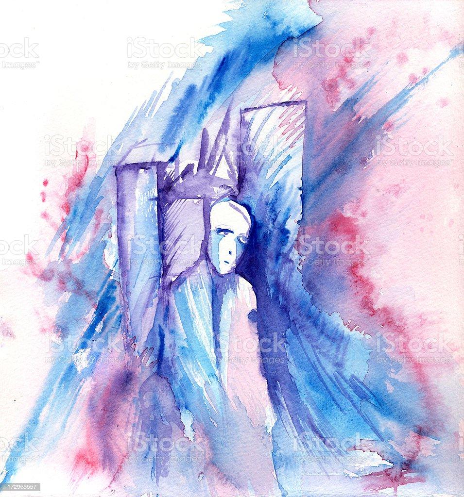 feeling blue vector art illustration