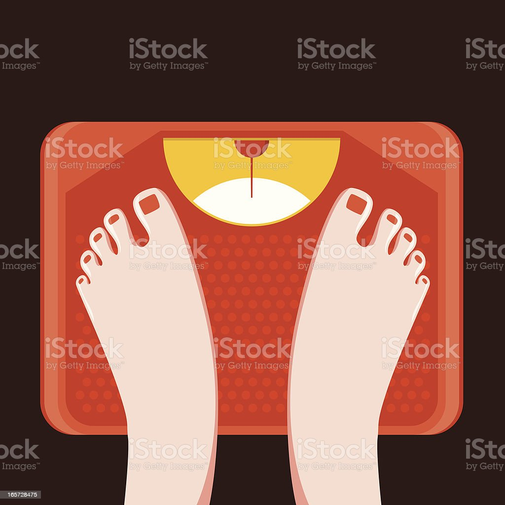 Feet on bathroom weight scale vector art illustration