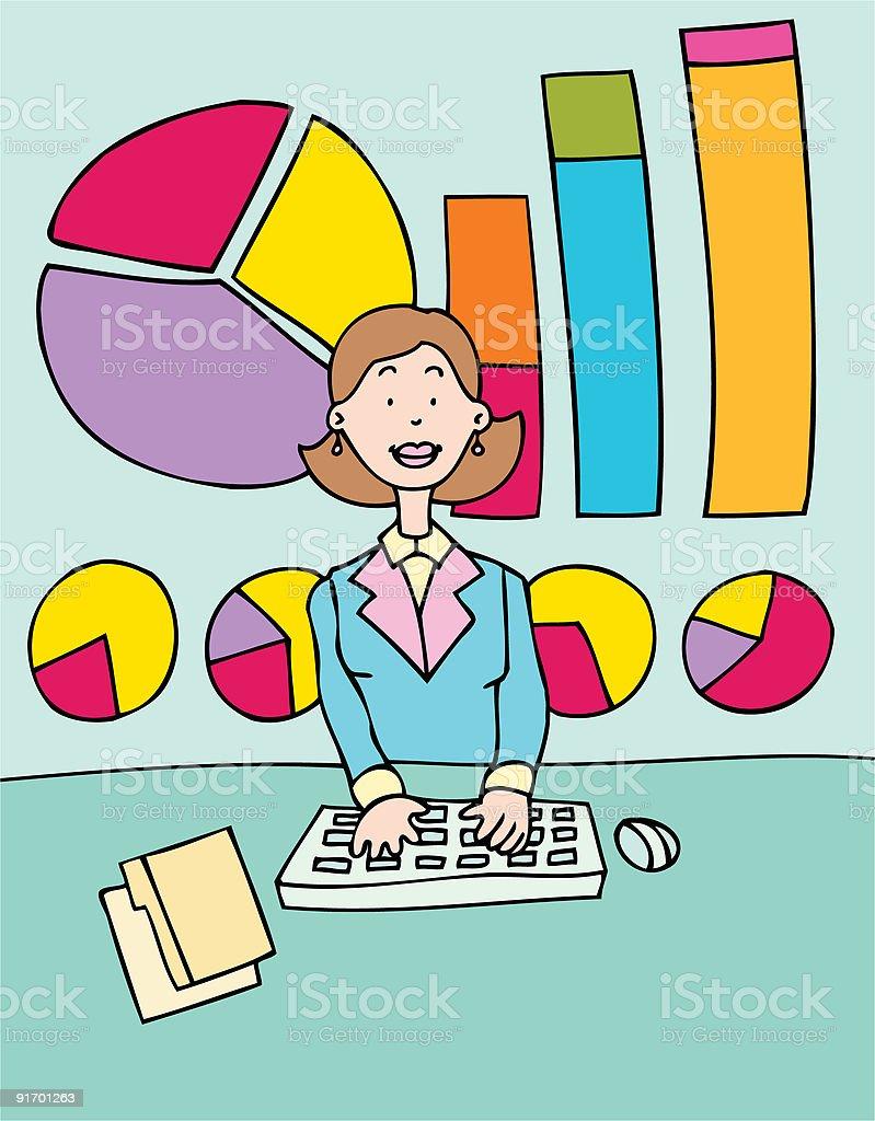 Female Accountant vector art illustration