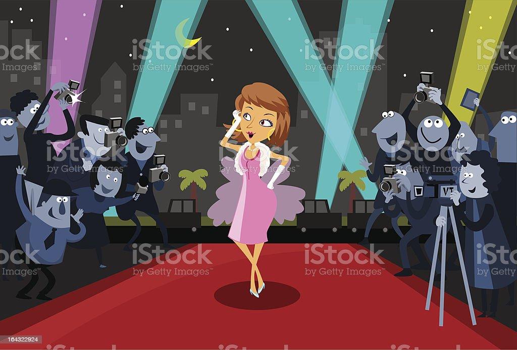 Female Artist on the Red Carpet vector art illustration
