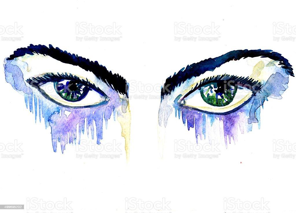 Female blue green eyes vector art illustration