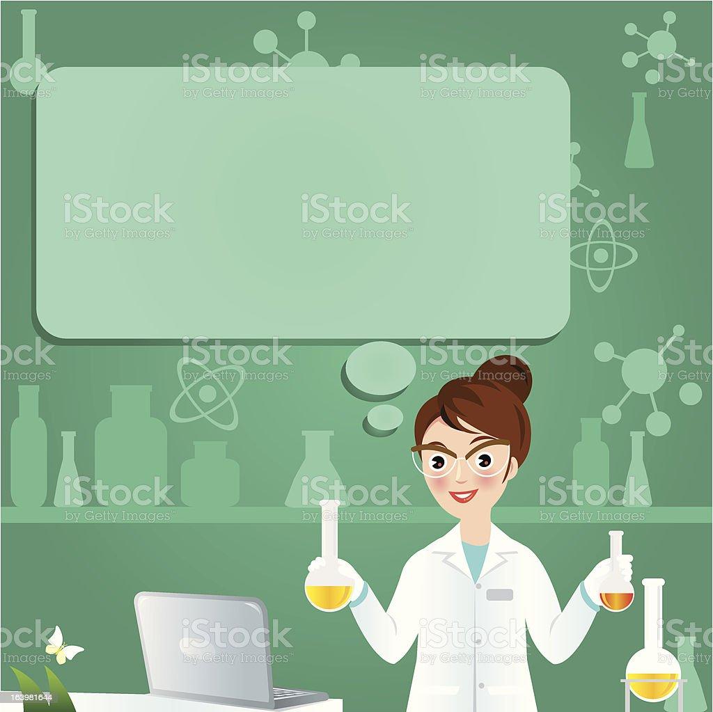 Female Chemist with a Beaker royalty-free stock vector art