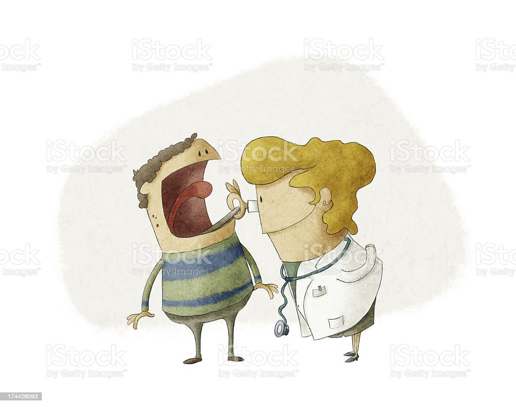 Female doctor and patient vector art illustration