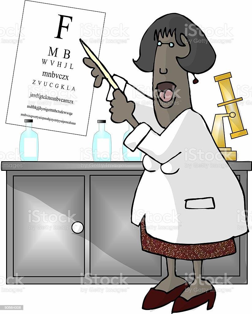 Female Eye Doctor vector art illustration