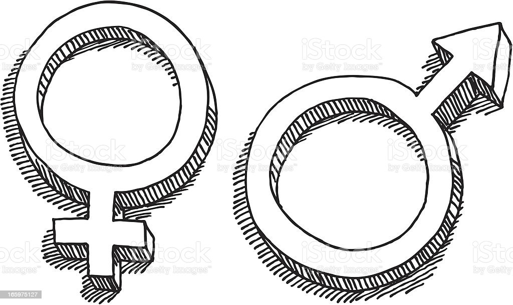 Female Male Gender Symbol Drawing vector art illustration
