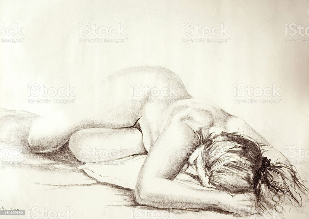 Female Nude in Charcoal royalty-free stock vector art
