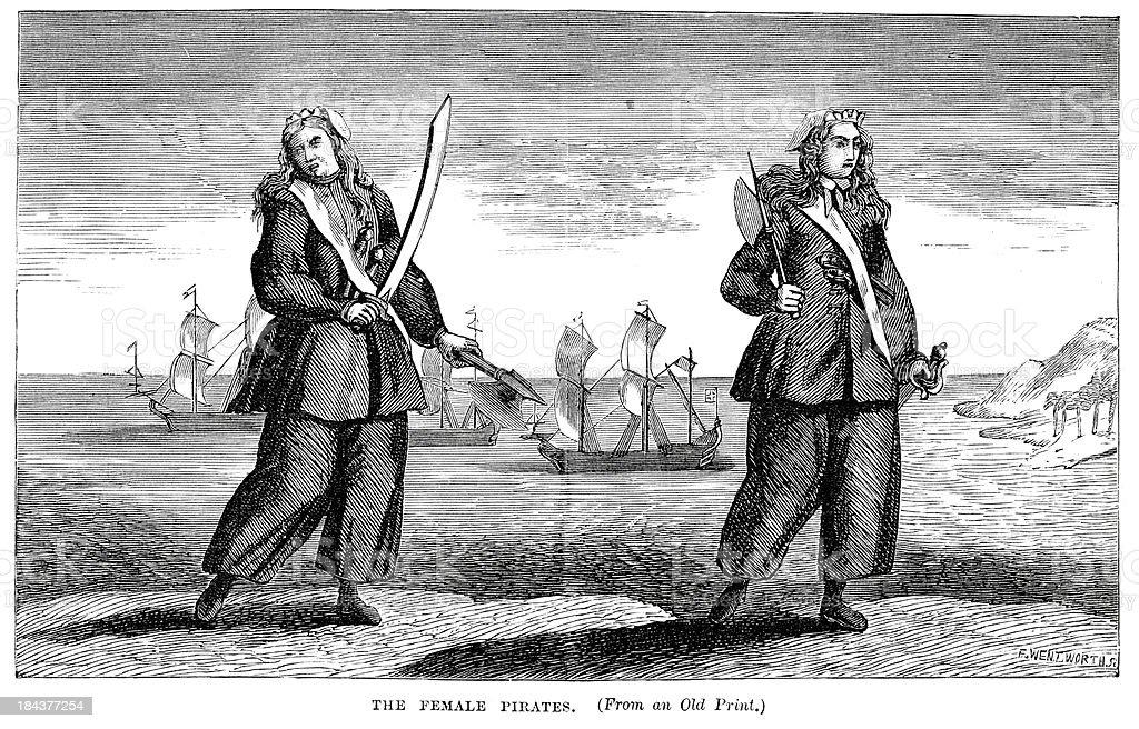 Female Pirates vector art illustration