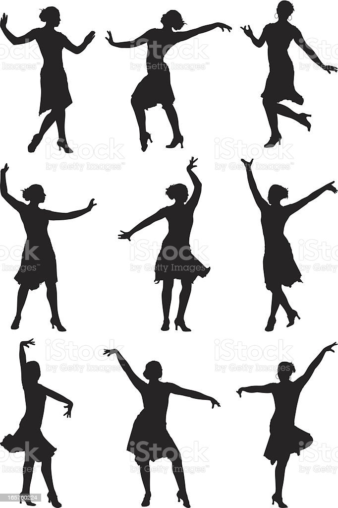 Female professional dancer dancing gracefully vector art illustration