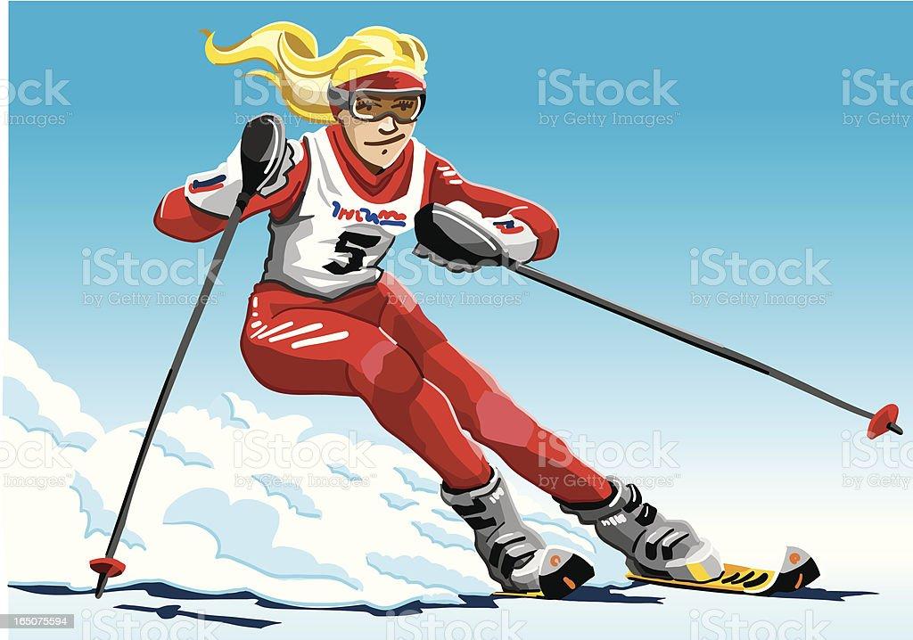 Female Slalom Skier Red vector art illustration