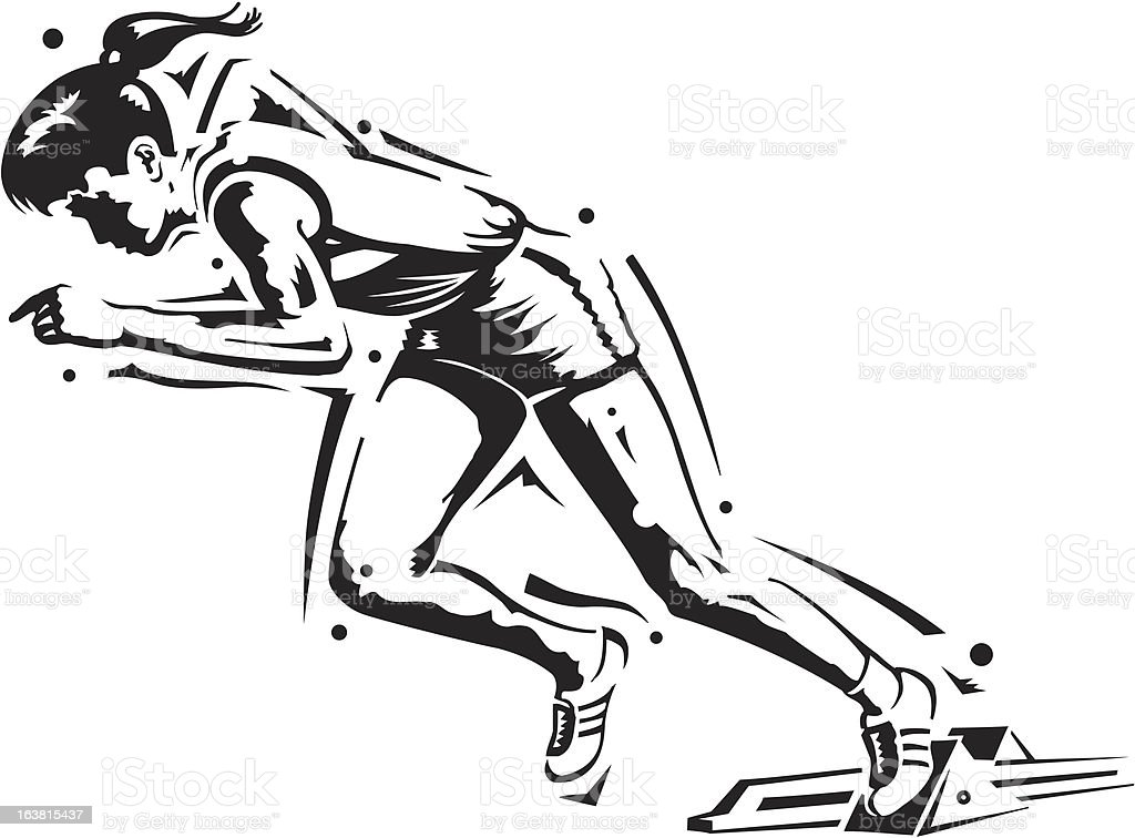 Female Sprinter royalty-free stock vector art