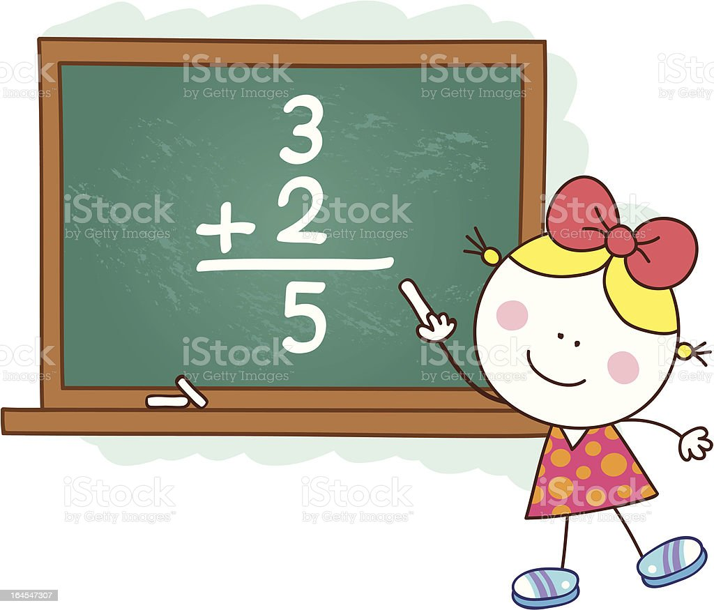 female student in front of chalkboard cartoon illustration royalty-free stock vector art