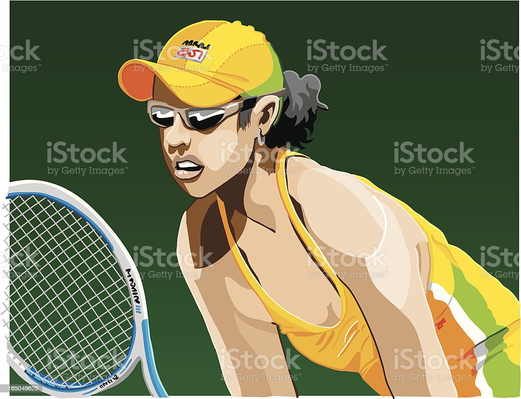 Female Tennis Player vector art illustration