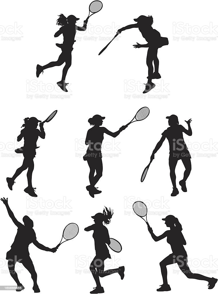 Female Tennis Players royalty-free stock vector art