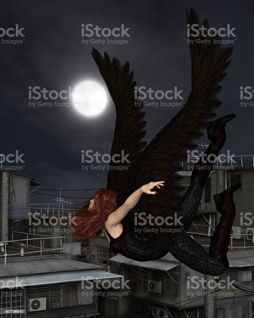 Female Urban Guardian Angel, Flying vector art illustration