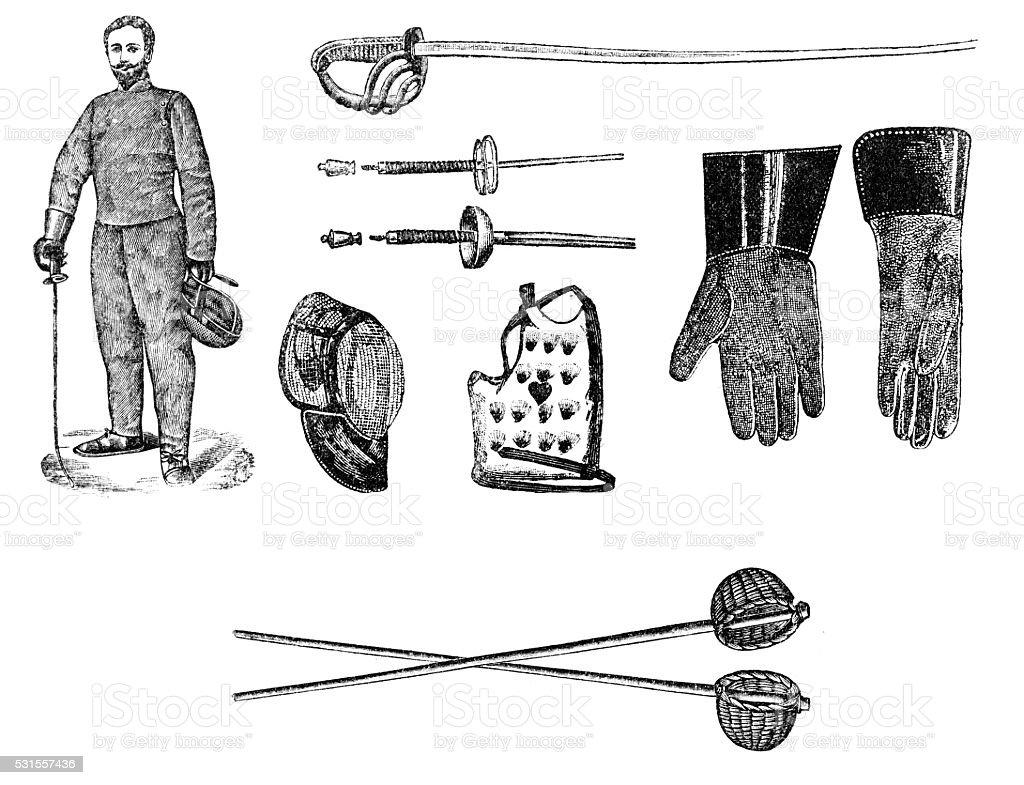 Fencing equipment vector art illustration