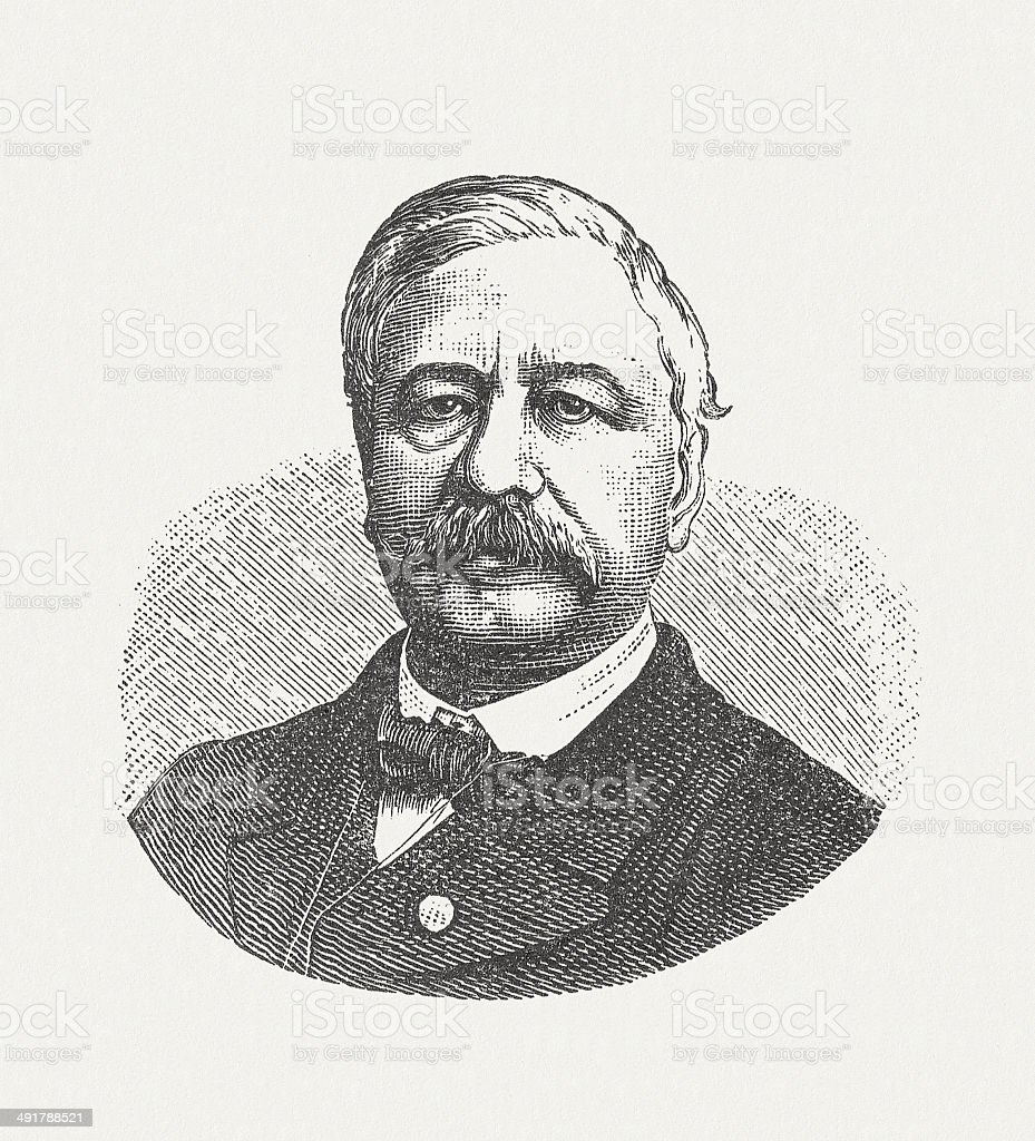 Ferdinand de Lesseps (1805-1894), French diplomat, wood engraving, published 1881 vector art illustration