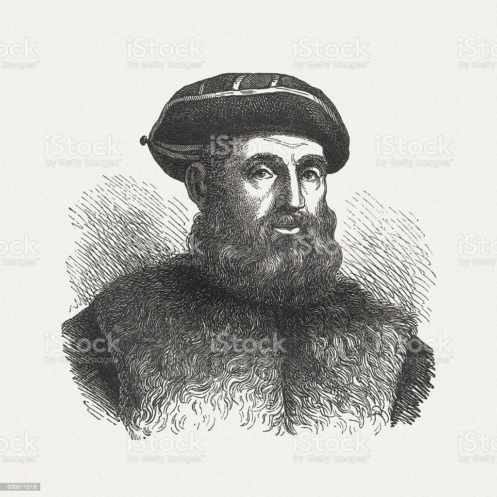 Ferdinand Magellan (1480-1521), Portuguese navigator, wood engraving, published in 1880 royalty-free stock vector art