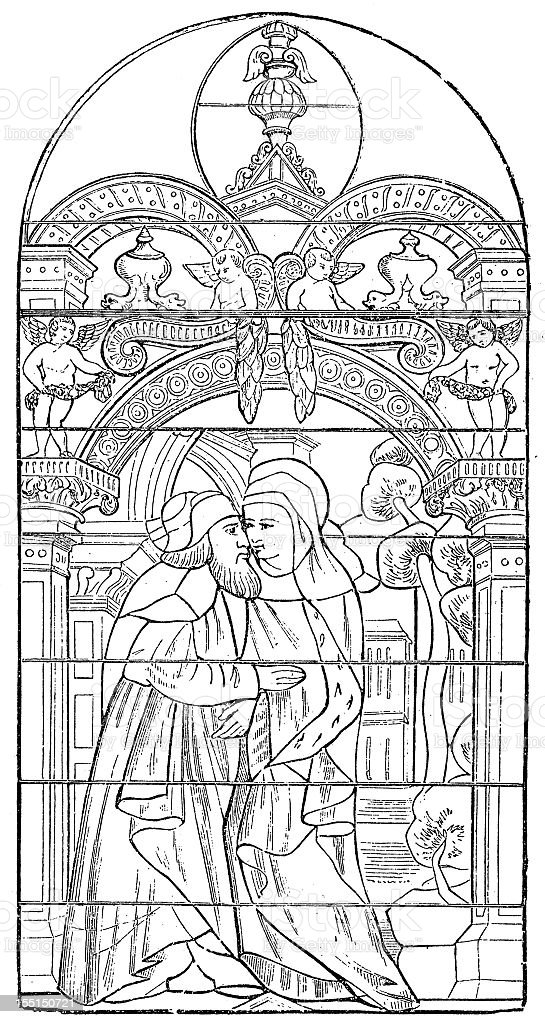 Ferrieres Abbey Stained Glass Window vector art illustration