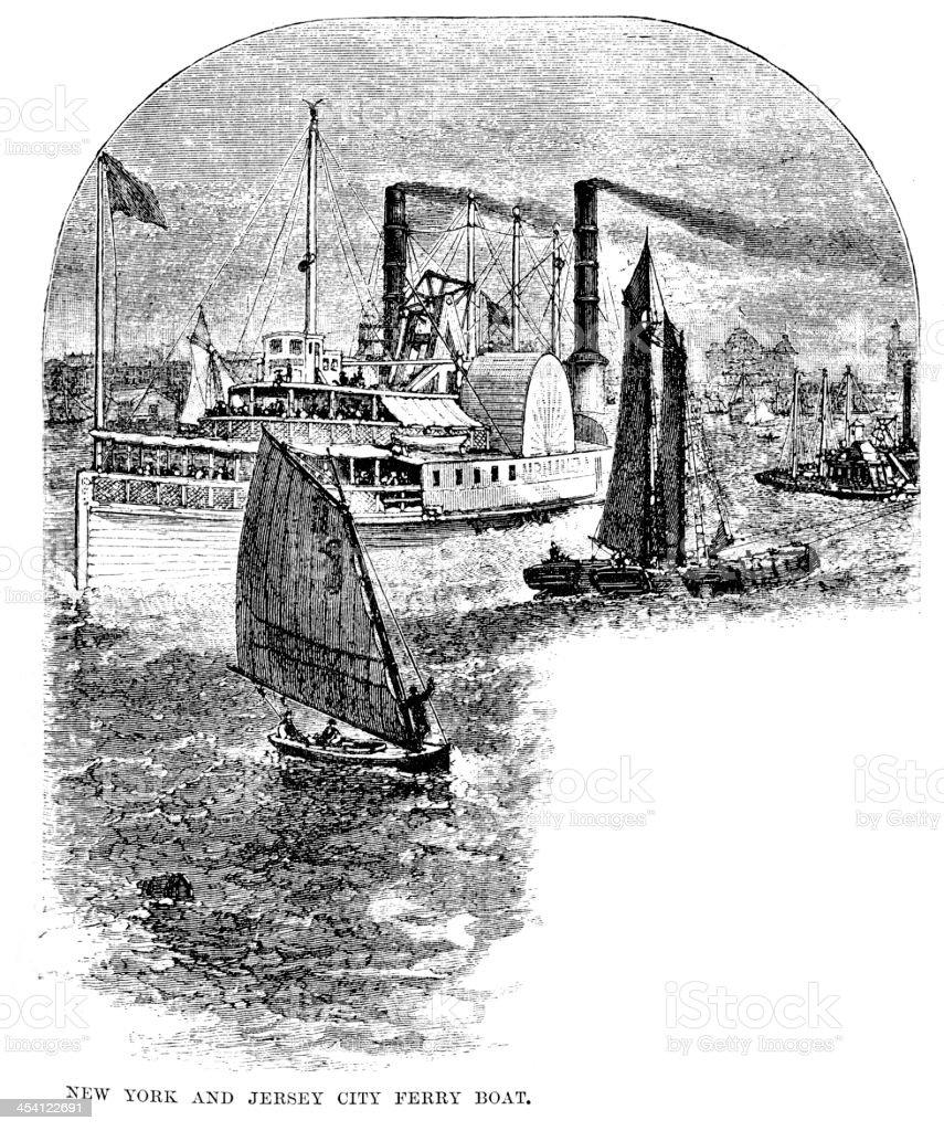 Ferry Boat - New York vector art illustration