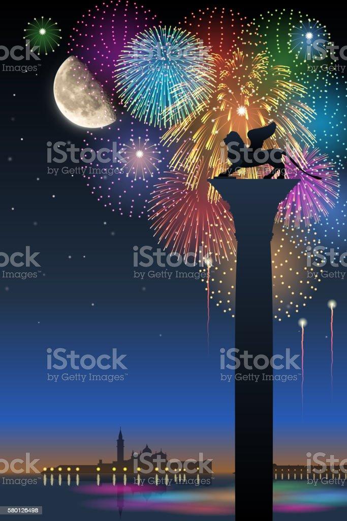 Festa del Redentore[Fireworks and half moon] vector art illustration