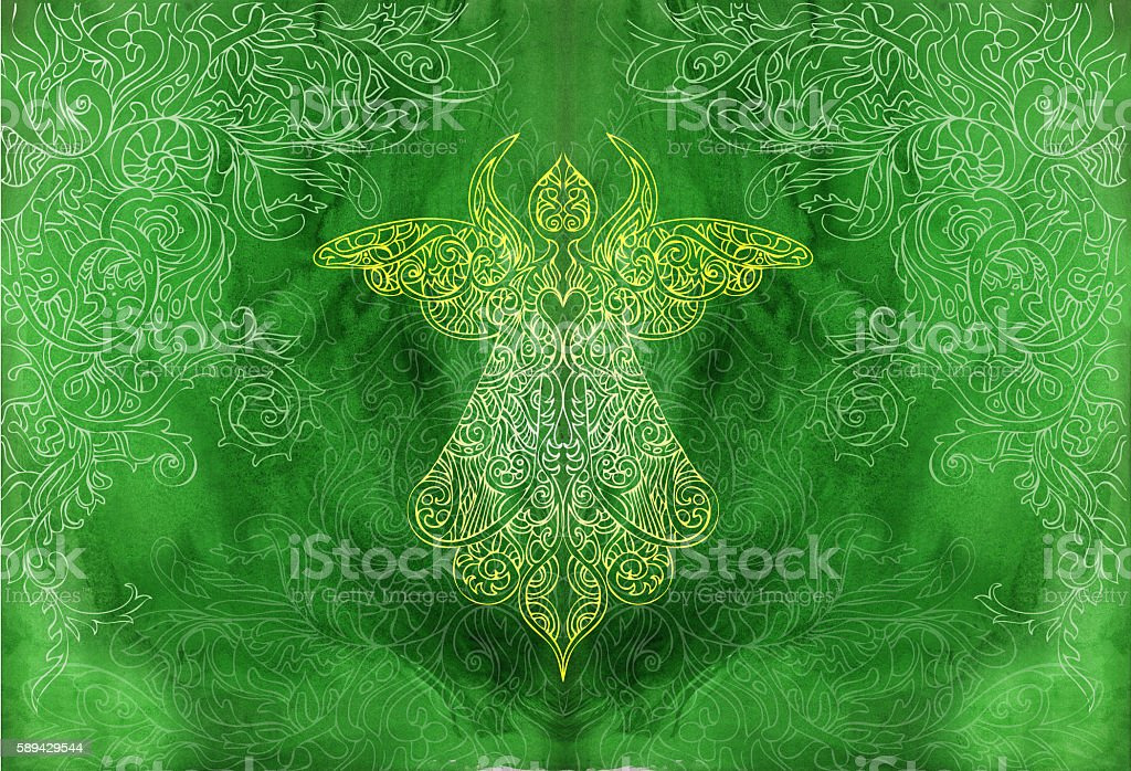festive angel vector art illustration