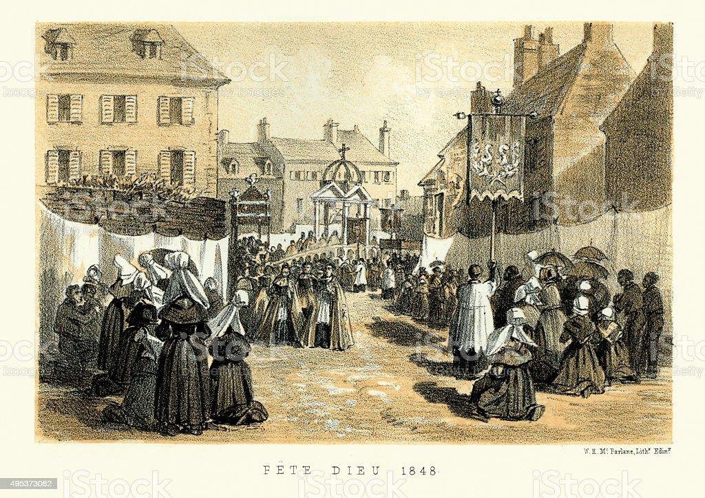 Fete Dieu (Feast of Corpus Christi), Normandy, France, 1848 vector art illustration