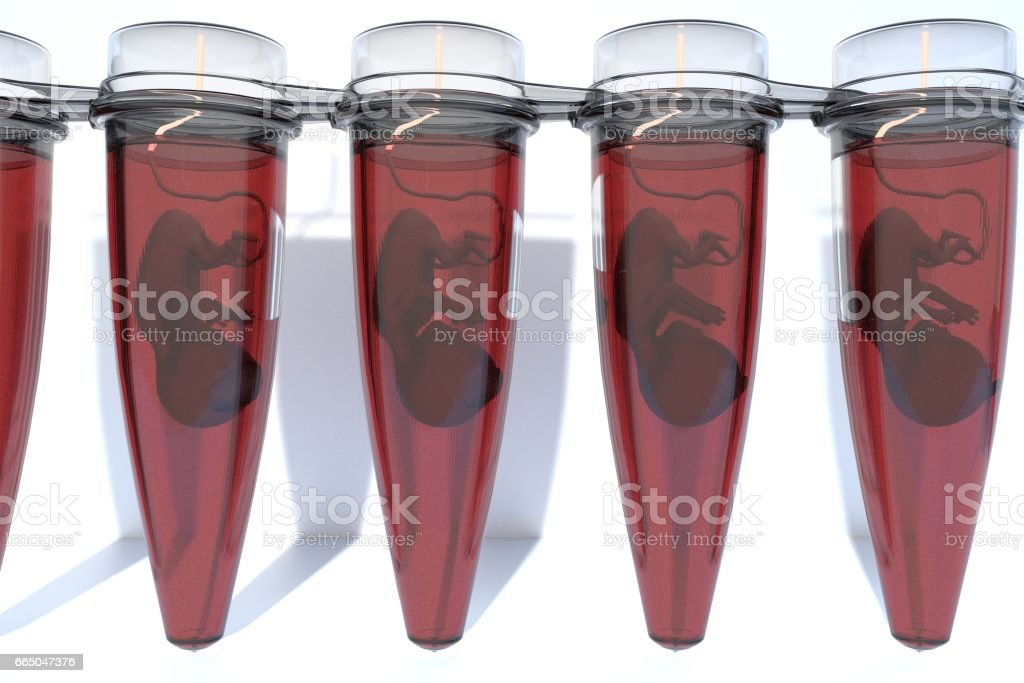 Fetuses in Vials artificial grown, in vitro fertilization of babies stock photo