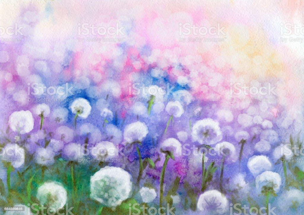Field of dandelions, watercolor painting vector art illustration