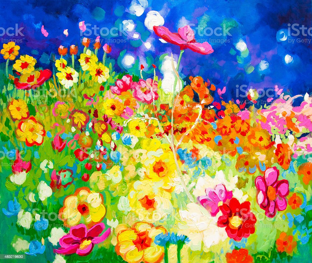 Field of flowers lit by the light. vector art illustration