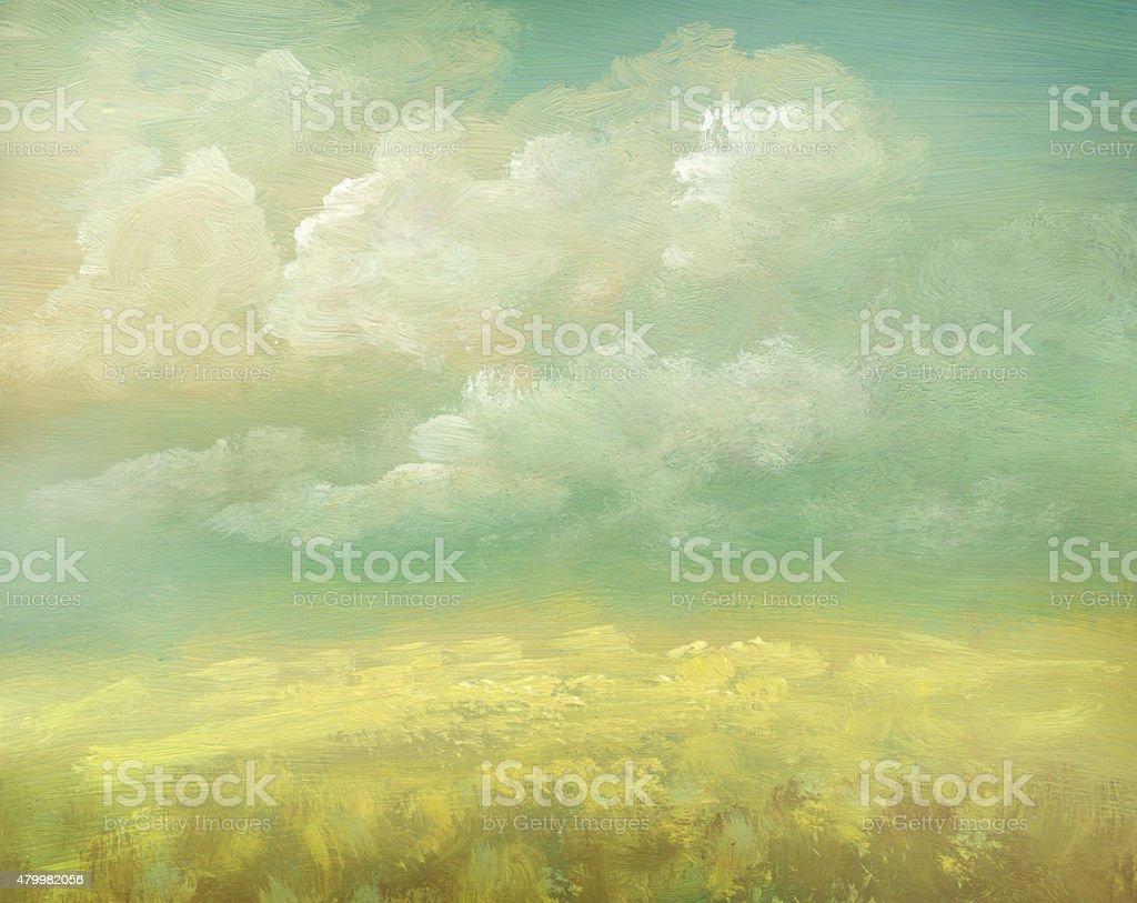 Field, painted vintage background vector art illustration