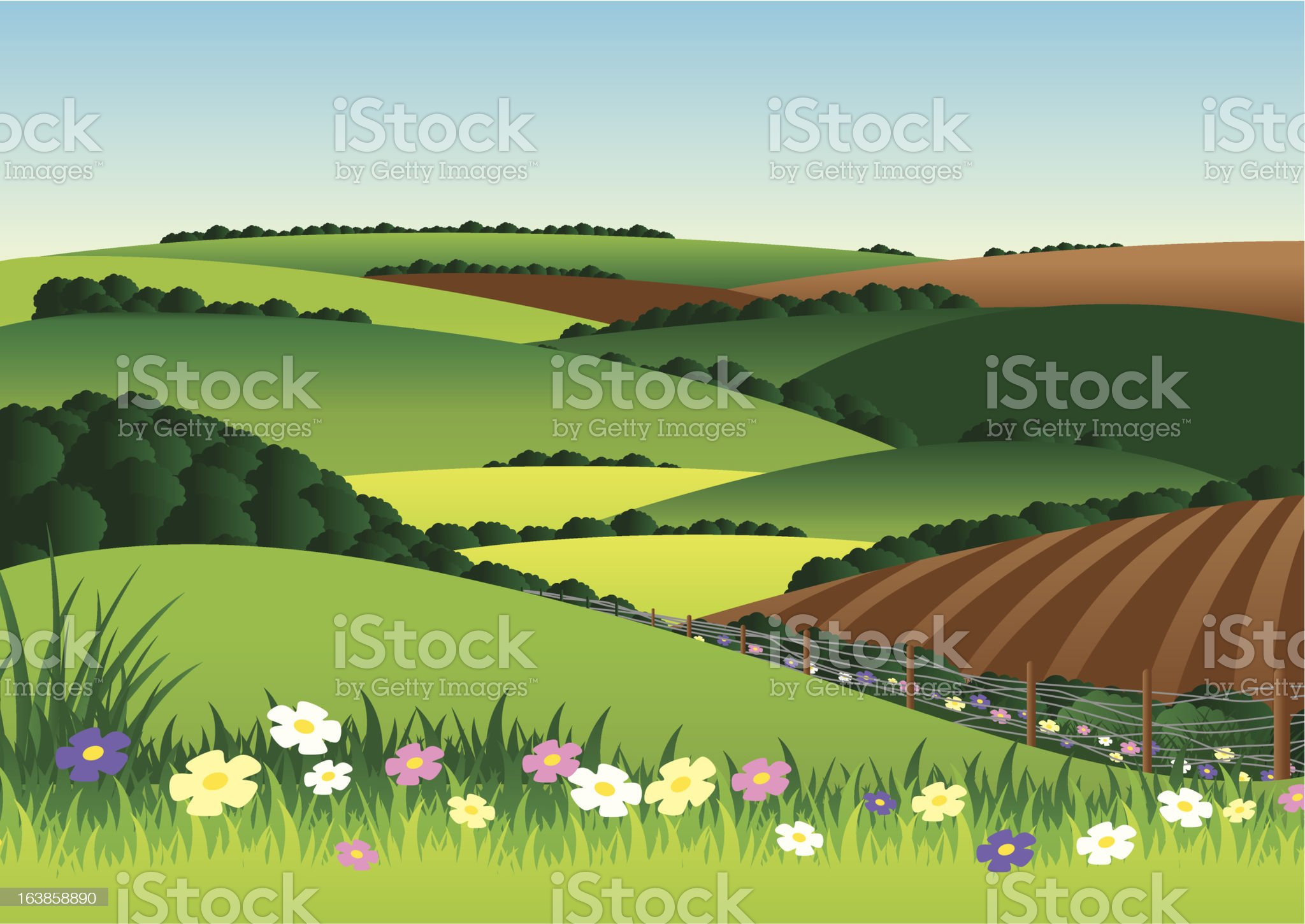 Fields and hills royalty-free stock vector art