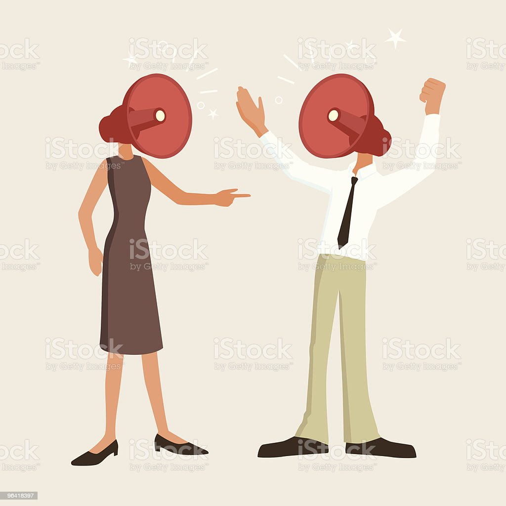 Fierce argument between man and woman vector art illustration