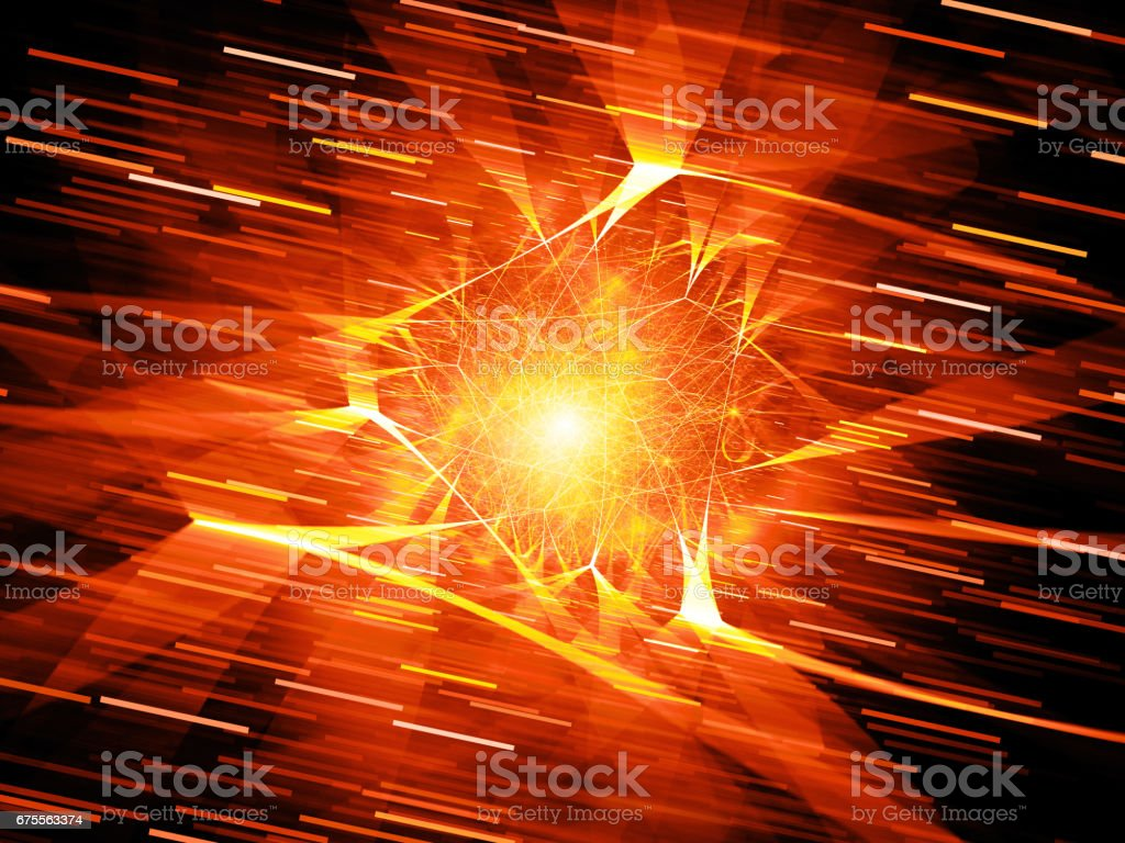 Fiery glowing futuristic network connections in space with motion lines vector art illustration