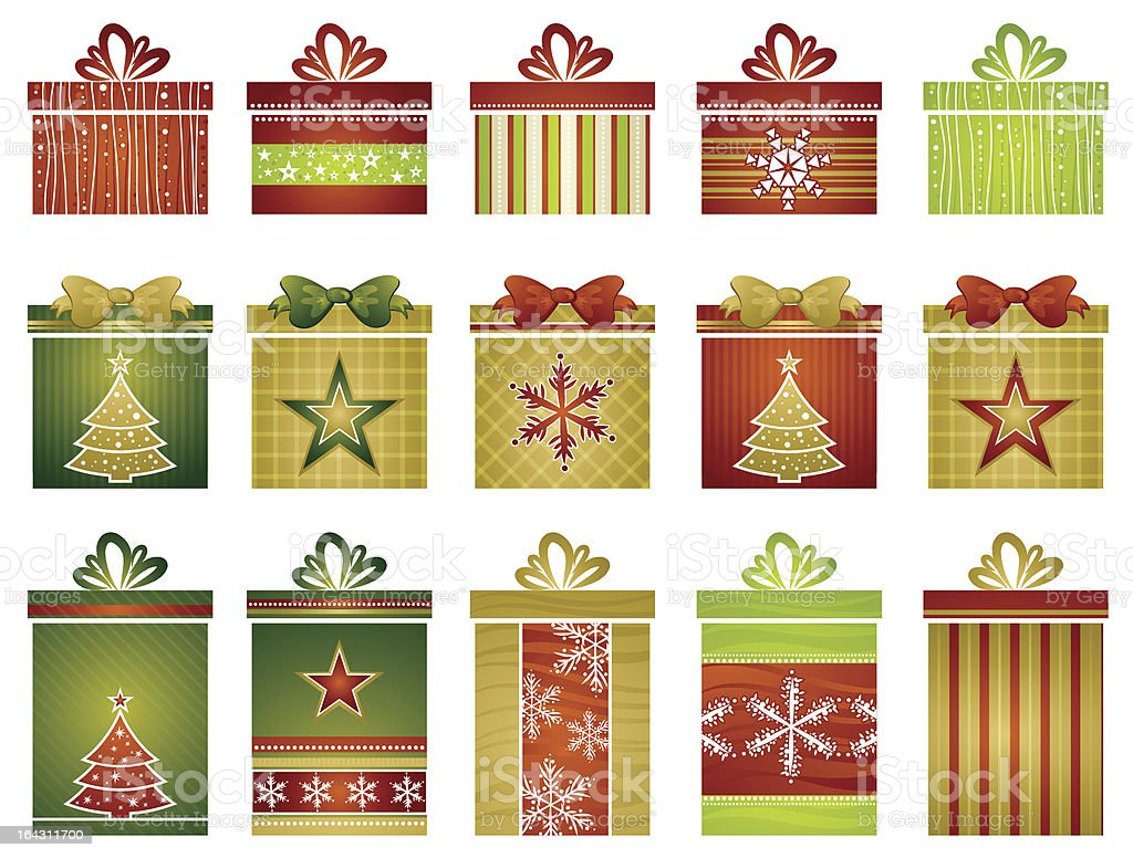 fifteen color christmas gifts royalty-free stock vector art