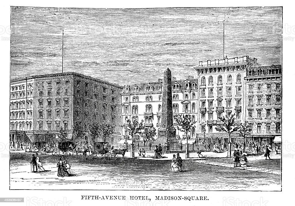 Fifth Avenue Hotel, Madison Square vector art illustration