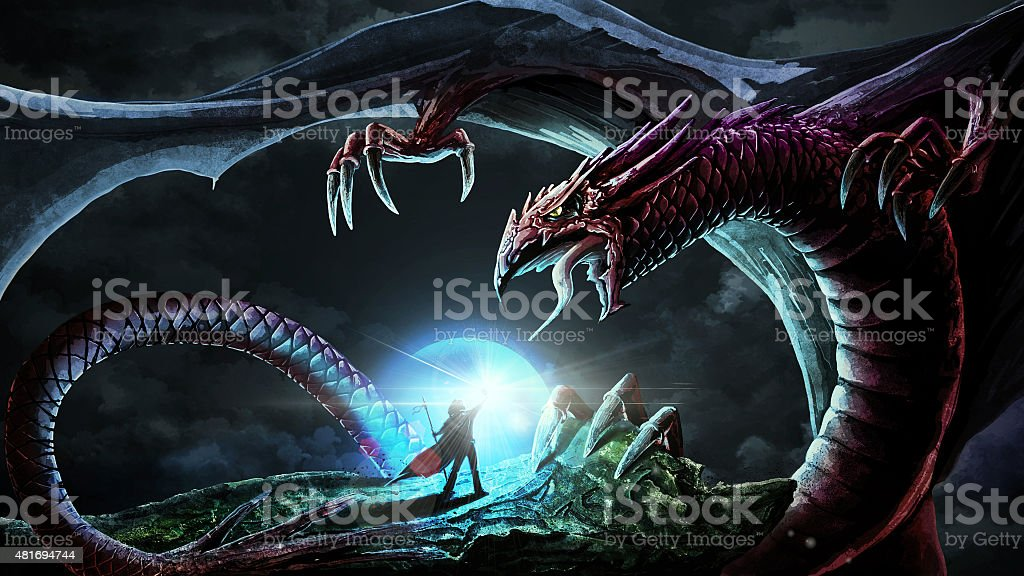 Fight with dragon vector art illustration