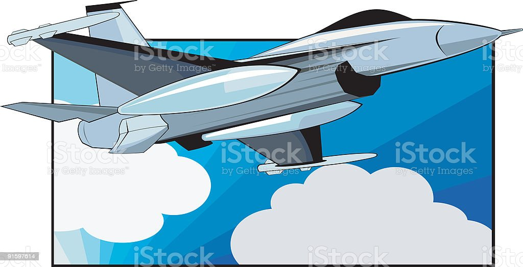 Fighter Jet Airplane royalty-free stock vector art