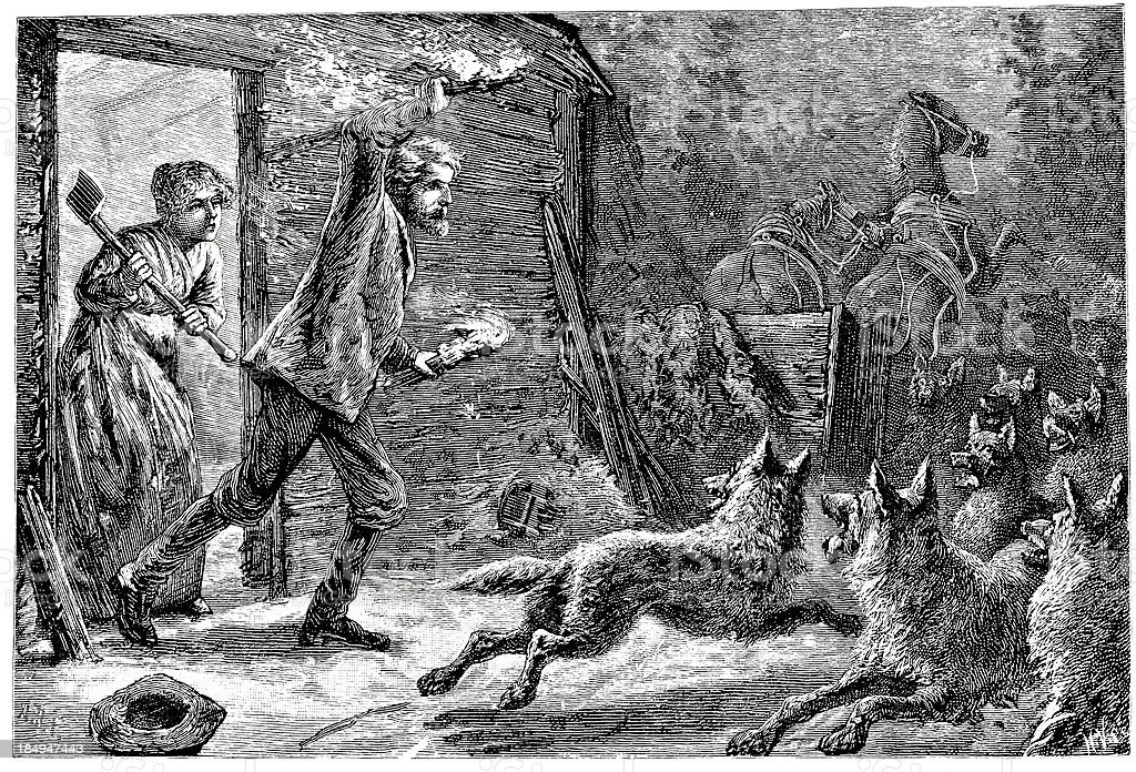 Fighting Off Wolf Pack - Victorian Engraving vector art illustration