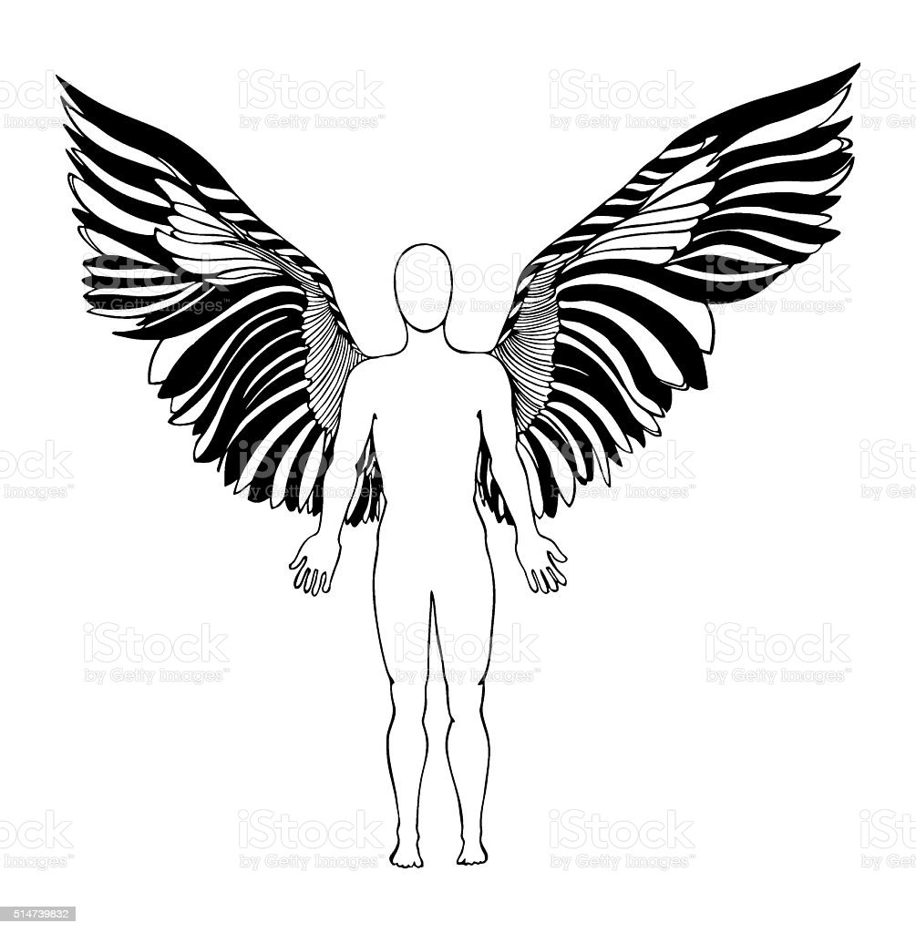 figure of an angel. silhouette vector art illustration
