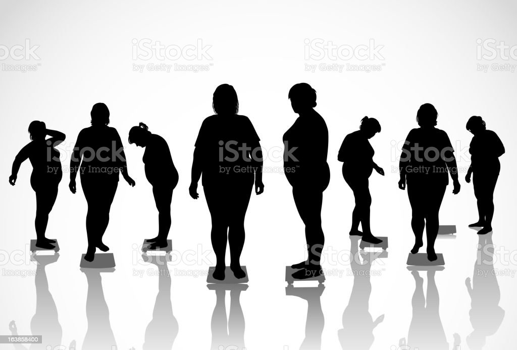 figures of thick women vector art illustration