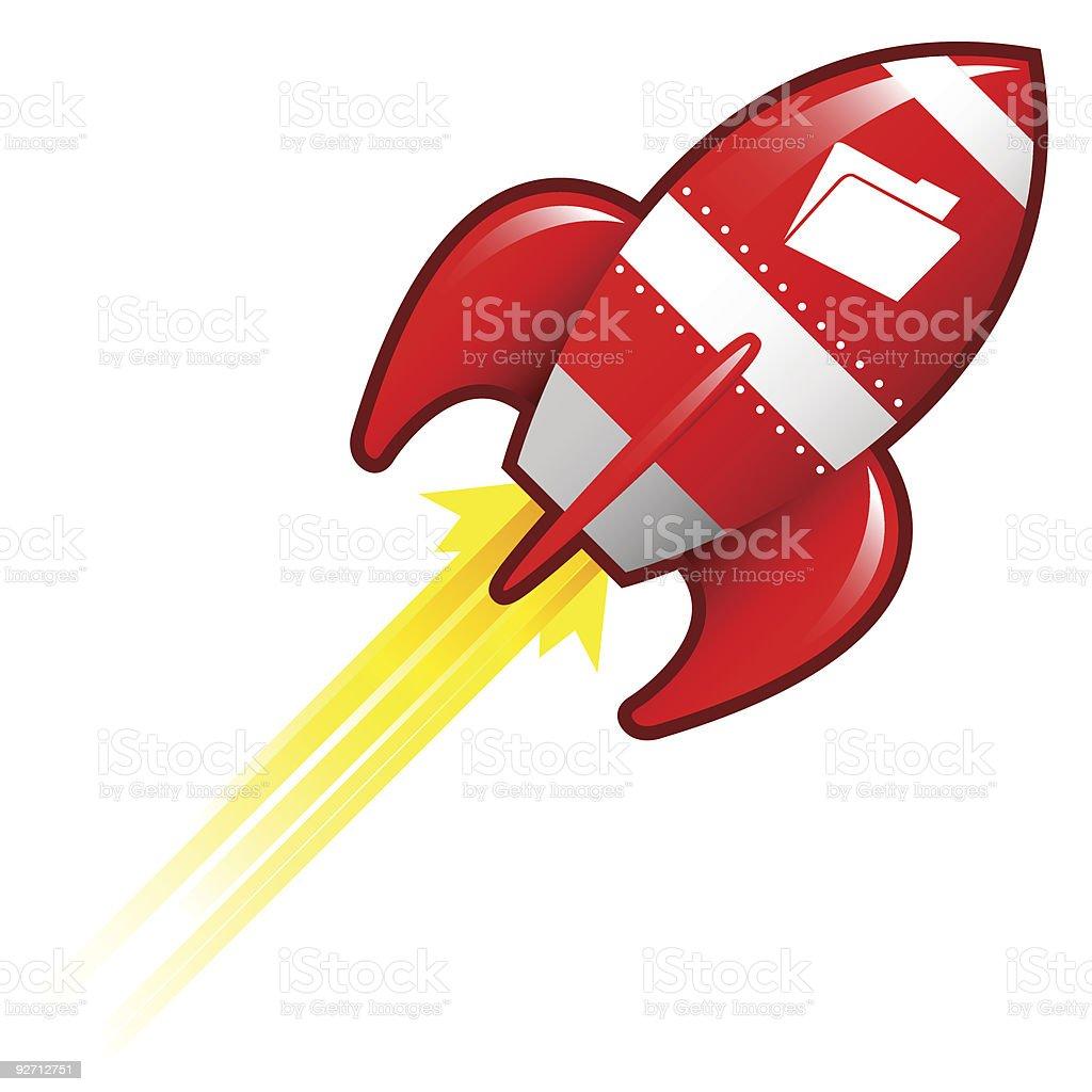 File transfer rocket vector art illustration