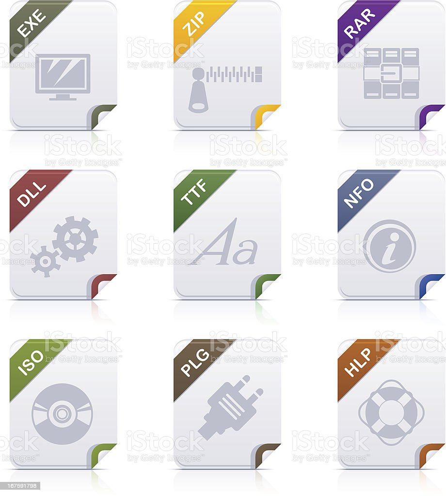 File type icons: Programms & System vector art illustration