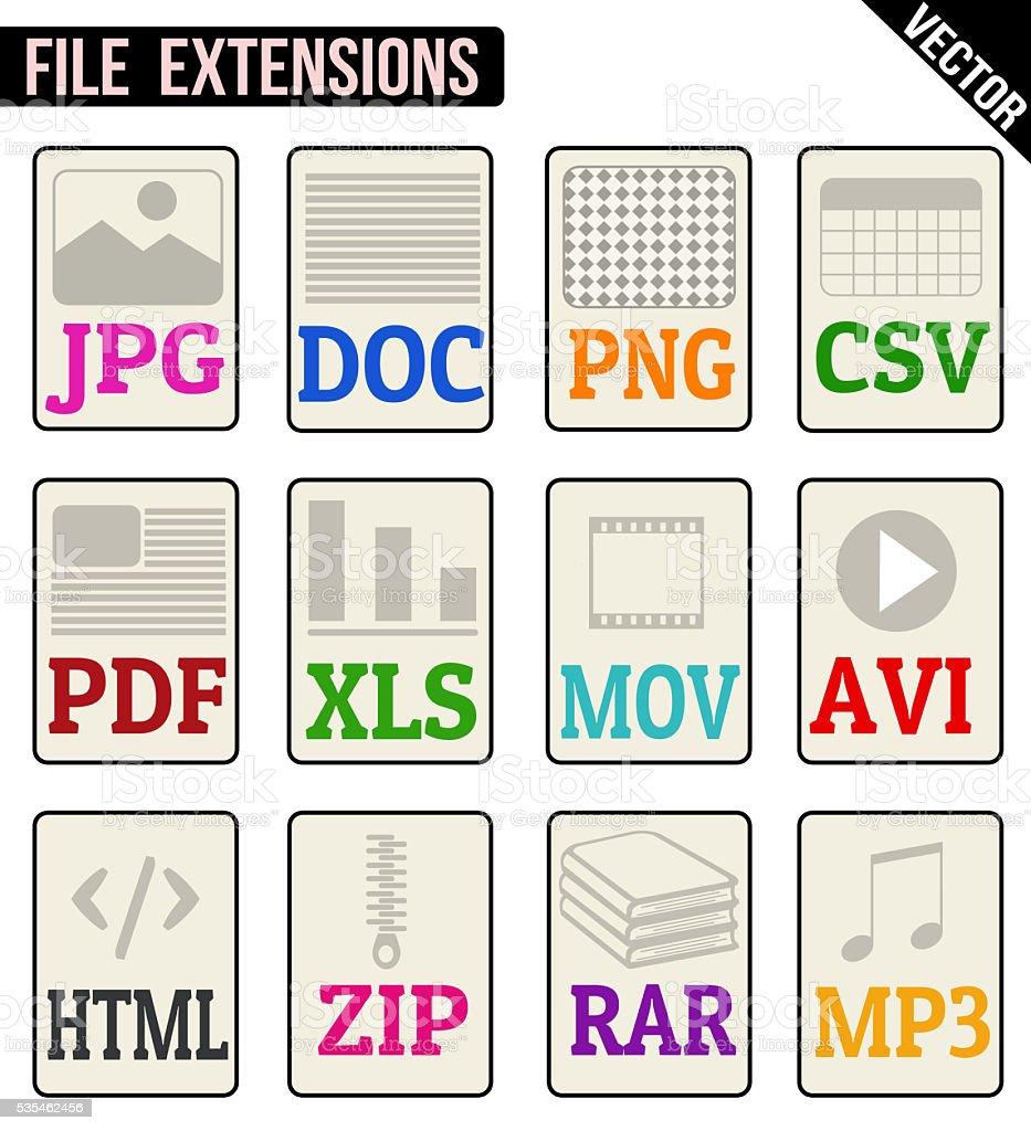 File types icons set vector art illustration