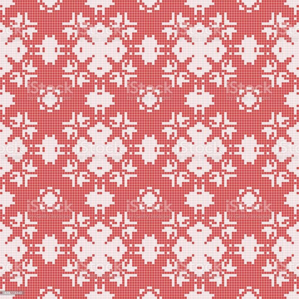 Filet crochet lace design. Seamless background in red vector art illustration
