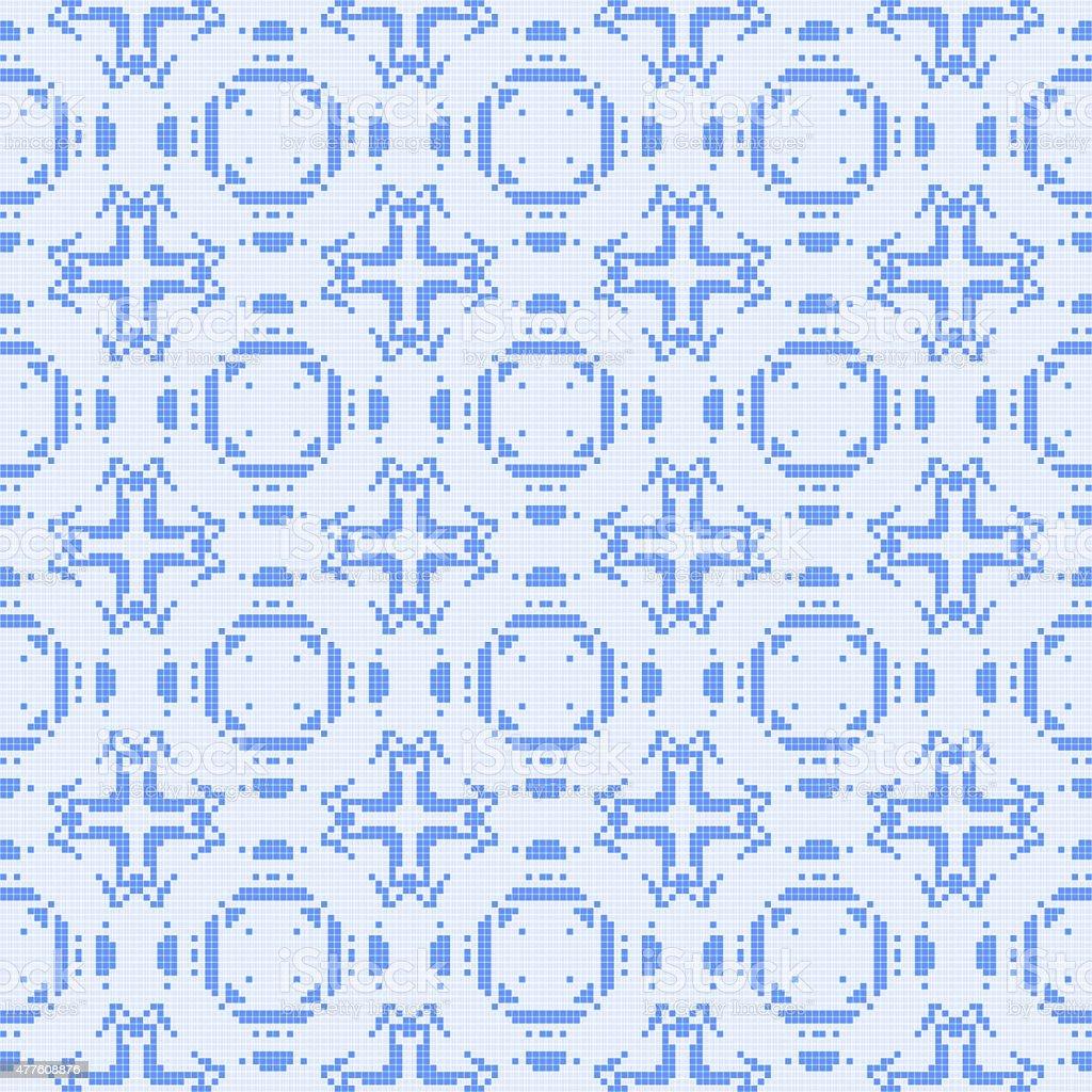 Filet crochet lace design with cross ornaments. vector art illustration