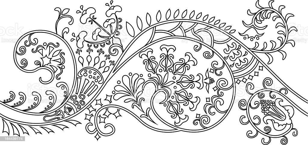 Filigree flower border. stencil royalty-free stock vector art