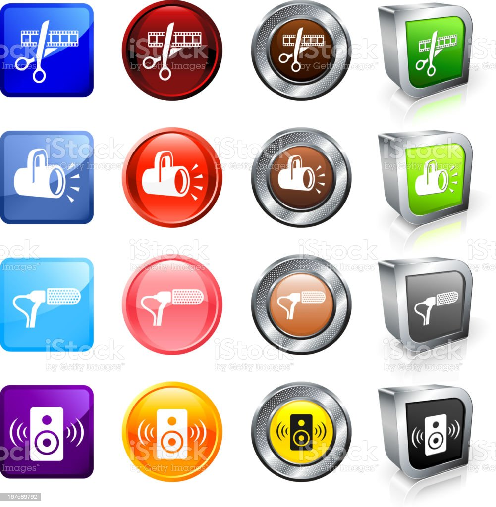 Film Equipment royalty free vector button set vector art illustration